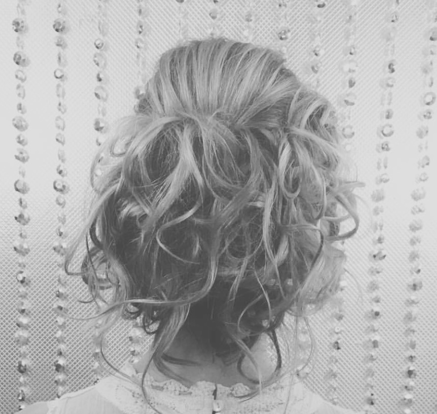 updo with loose curls